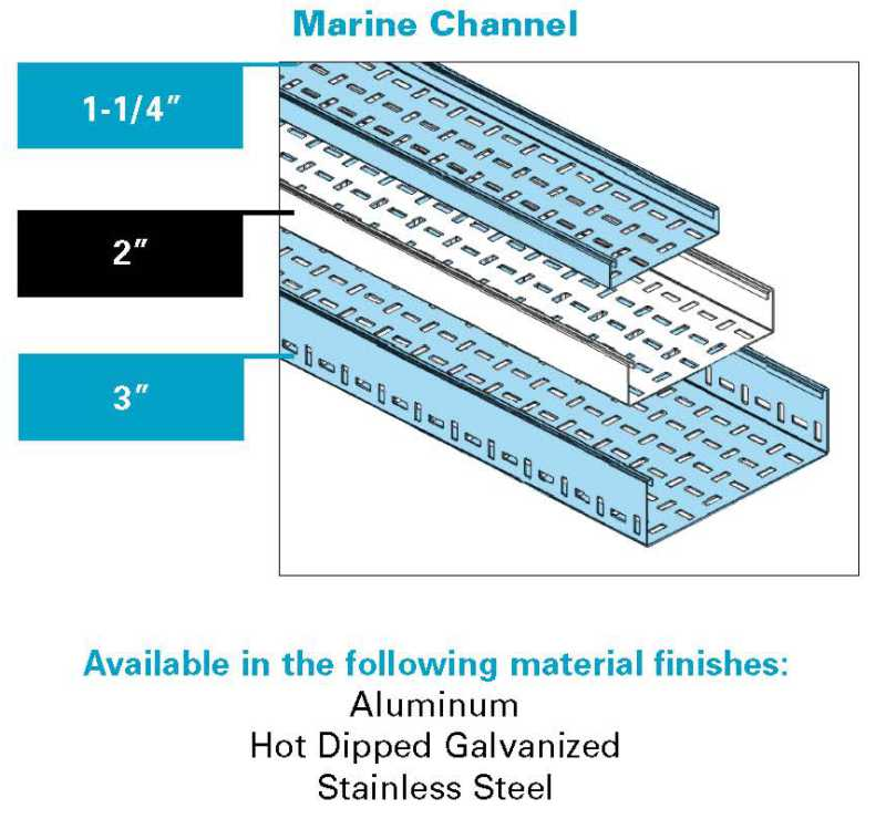 "Marine Cable Tray 1.25"", 2"", 3"""